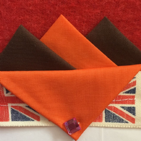 Brown and Orange Hankie With Orange Flap and Pin